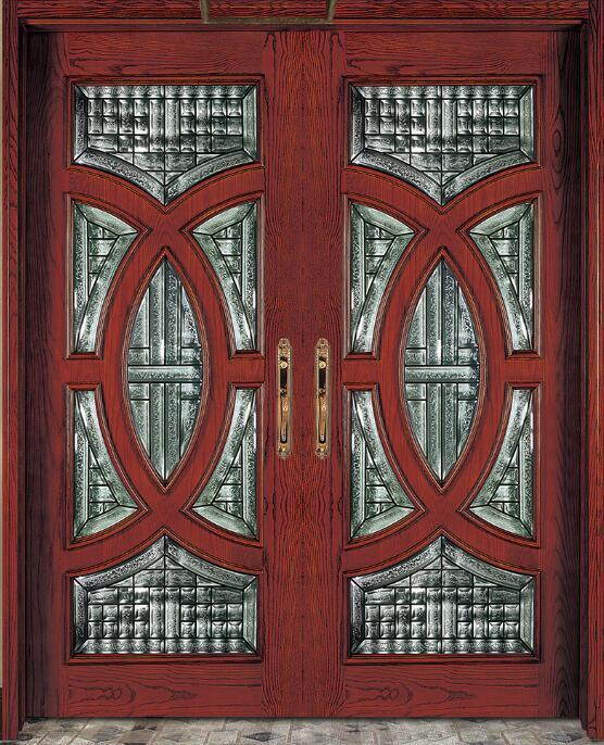 Mahogany Solid Wood Carved Entry Door