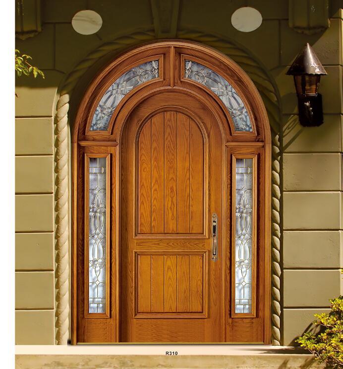 American arch Top Round mahogany entry door